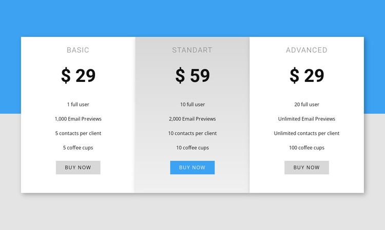 Our pricing Joomla Template
