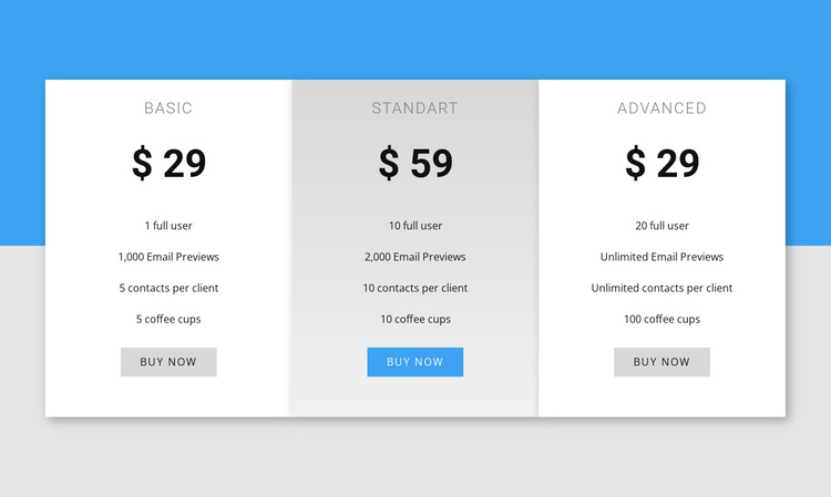Our pricing Template