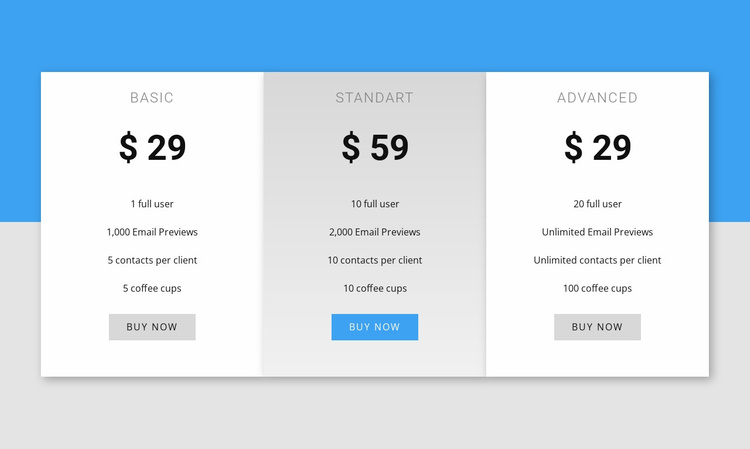 Our pricing Landing Page