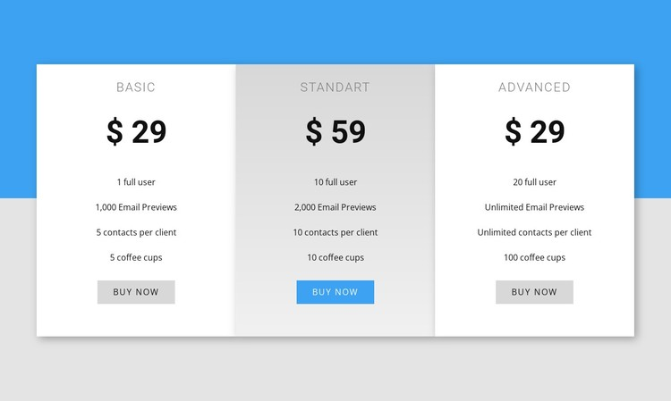 Our pricing WordPress Template