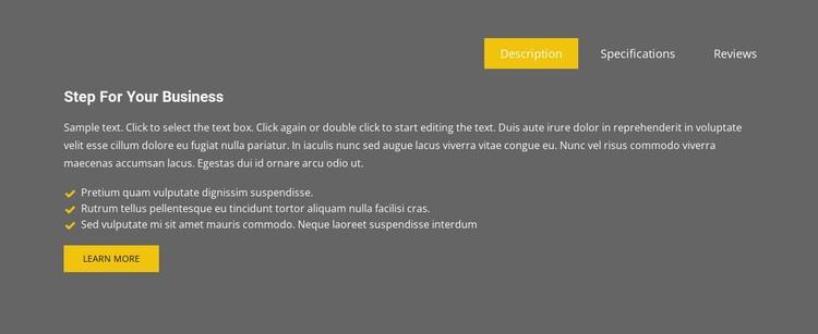 Business tabs on grey background WordPress Theme