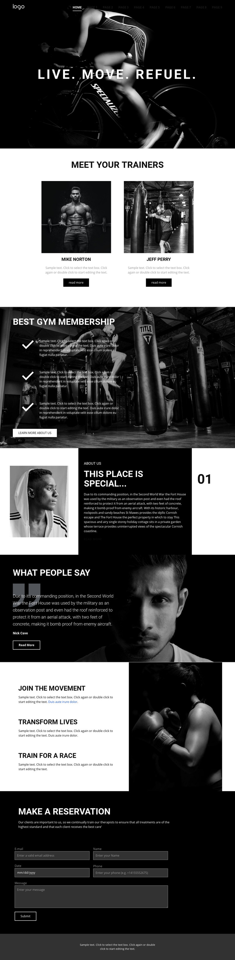 Refuel at power gym Homepage Design