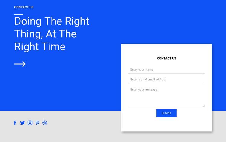 Social contact and form Web Design