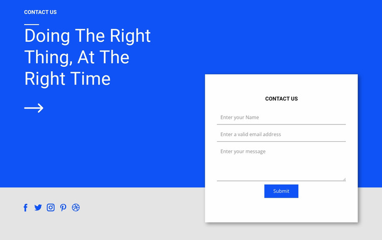 Social contact and form Website Builder Templates