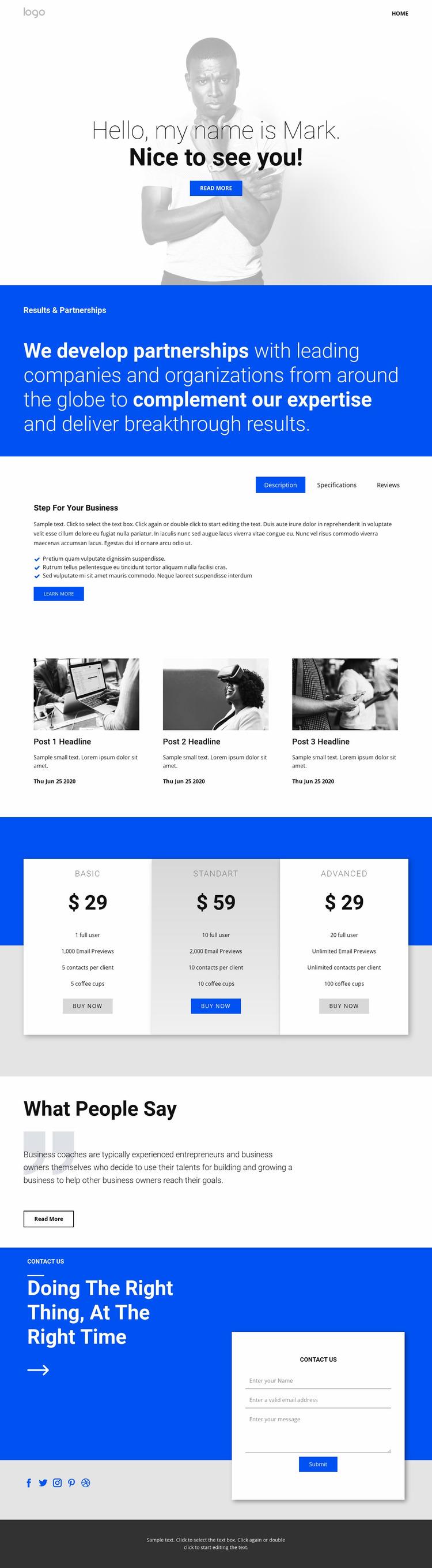Service powering business Website Mockup
