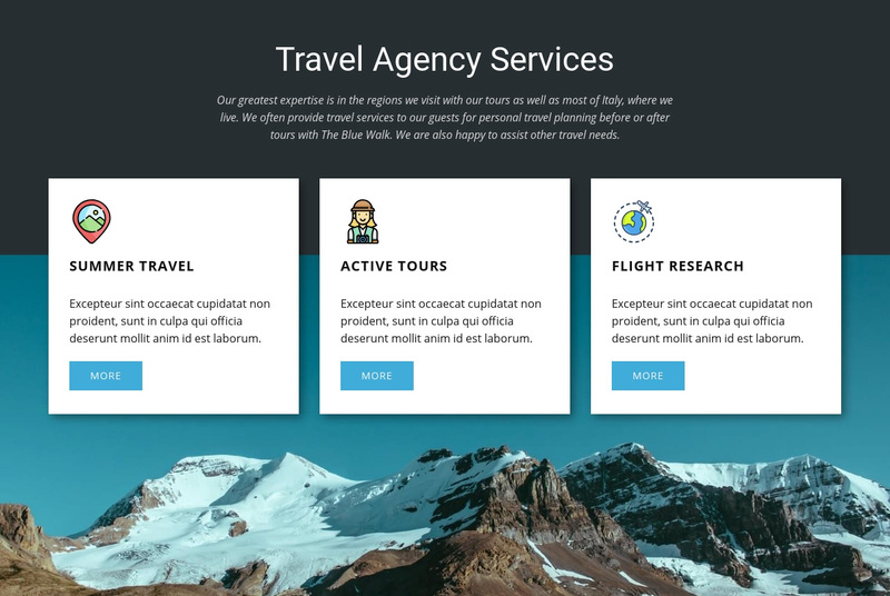 Travel Agency Services Web Page Design