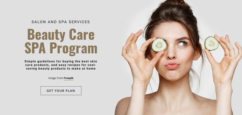 Beauty Care SPA Program Web Page Designer