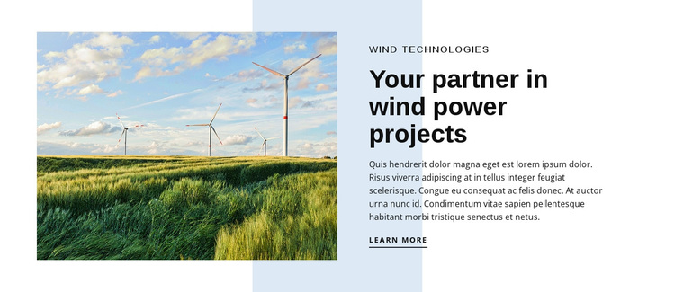 Wind Power Technologies Joomla Page Builder