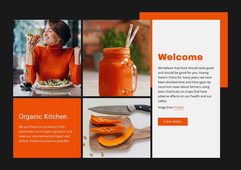 Organic Kitchen Web Page Design
