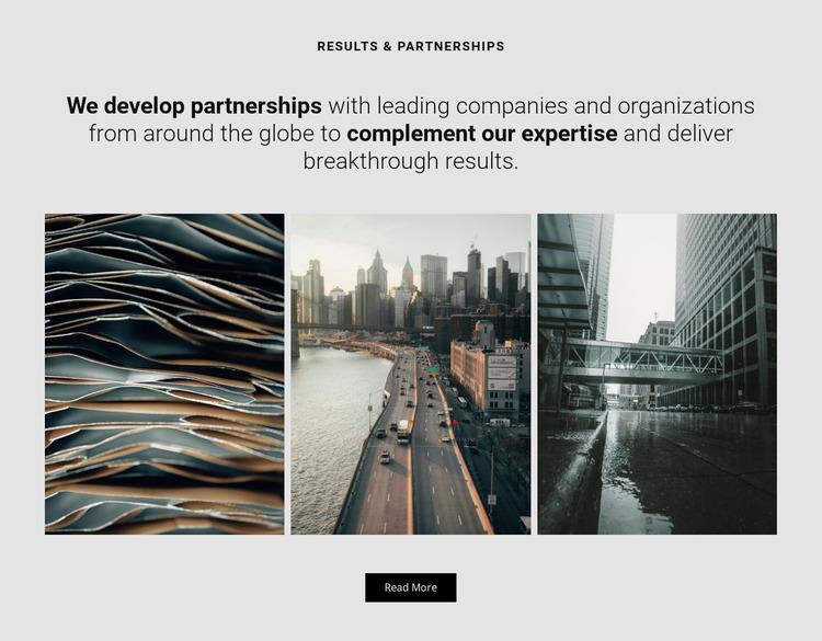We develop partnership Website Mockup