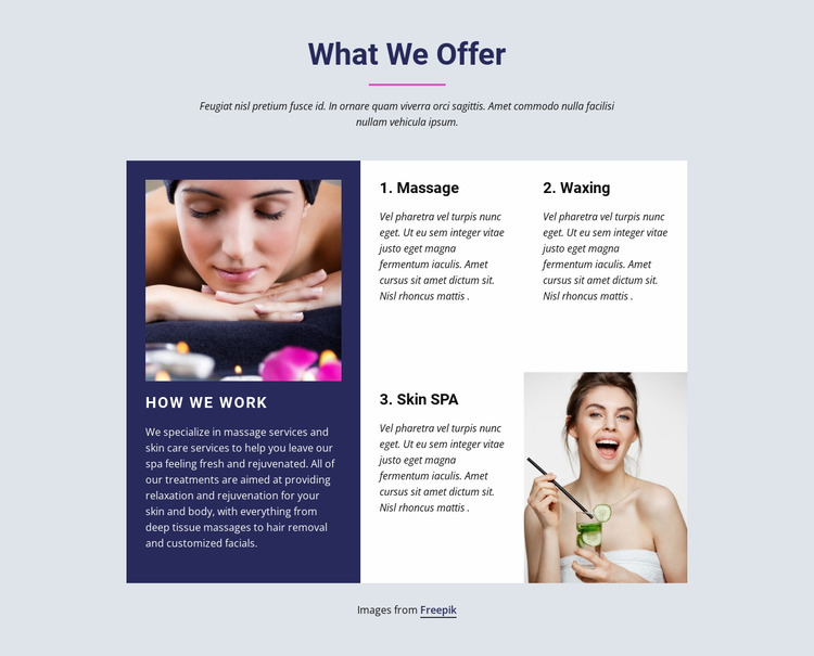 From hair styling, to facial skin care Html Website Builder