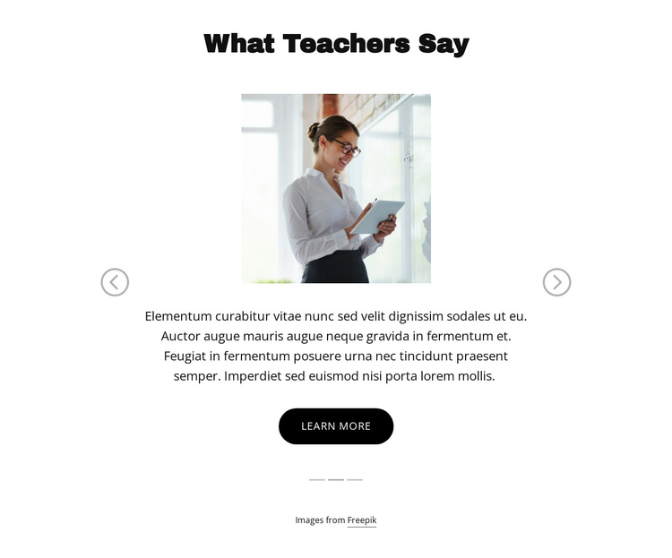 What Teachers Say One Page Template