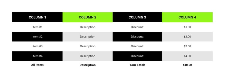 Business table CSS Template