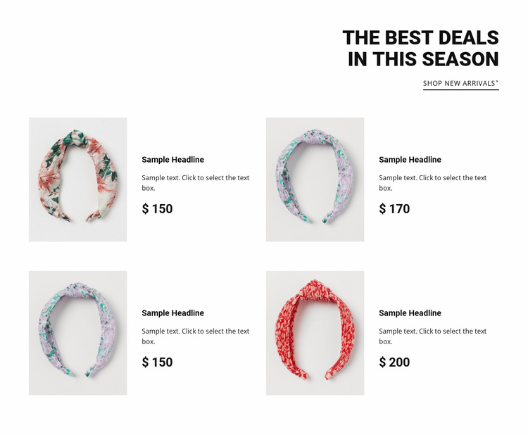 Best deals in this season Landing Page