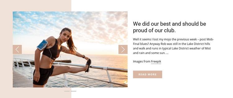 Running Club News Homepage Design