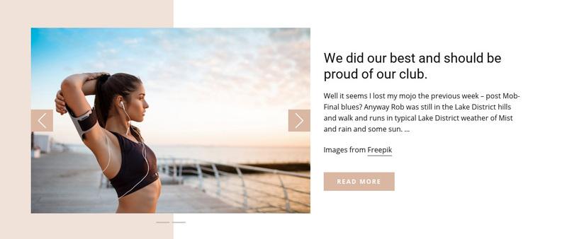 Running Club News Web Page Design