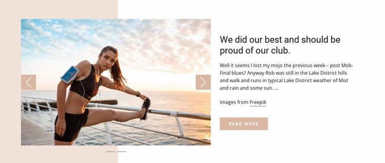 Running Club News Website Design