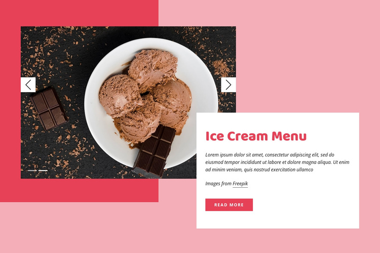 Chocolate ice cream One Page Template