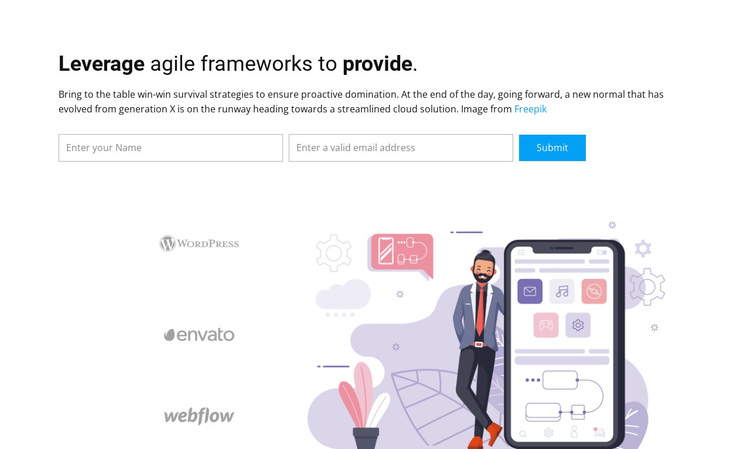 Leverage agile frameworks Website Builder Software