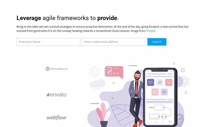 Leverage agile frameworks Website Template