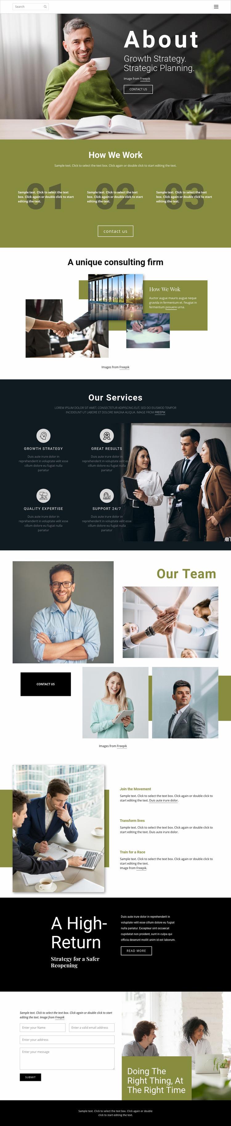 Strategic planning Web Page Design