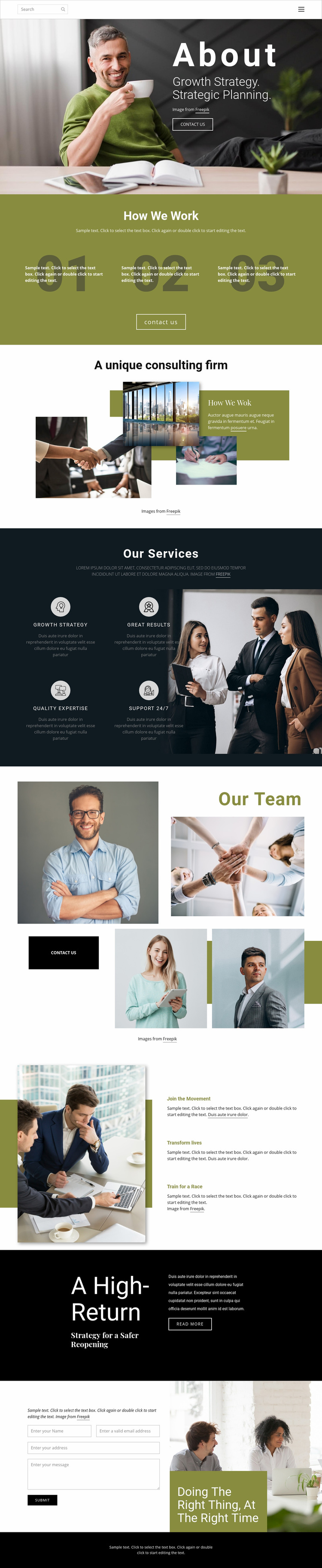 Strategic planning Web Page Designer
