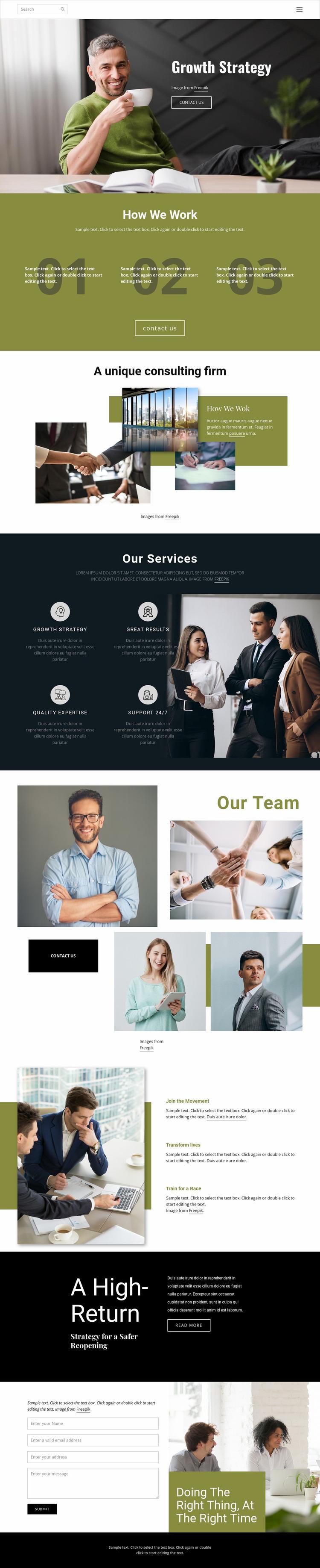 Strategic planning Website Mockup