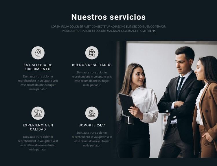 Nuestros servicios Plantilla de sitio web