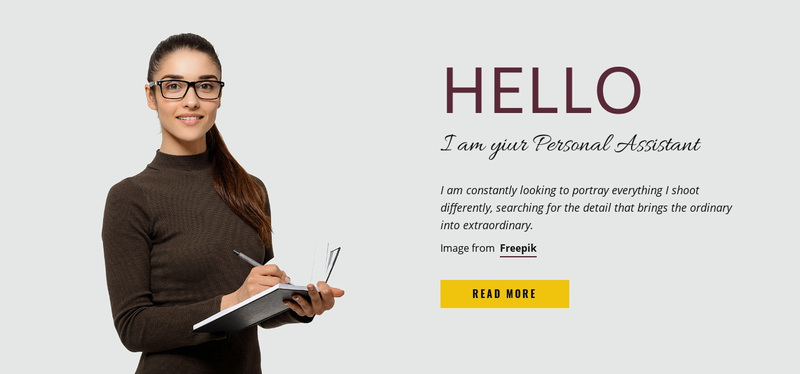I am your Personal Assistant Web Page Design