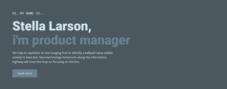 About our manager Website Mockup