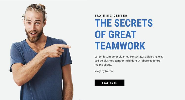 The Secrets of Great Teamwork Website Mockup