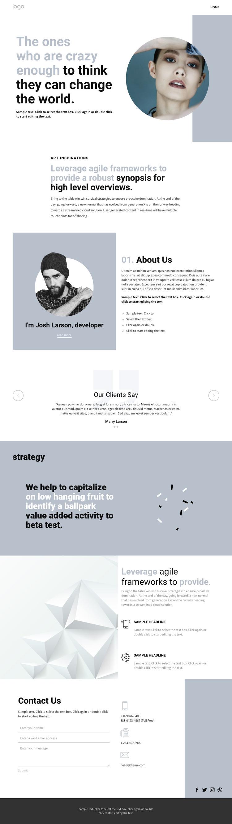 Creative studio innovation art One Page Template