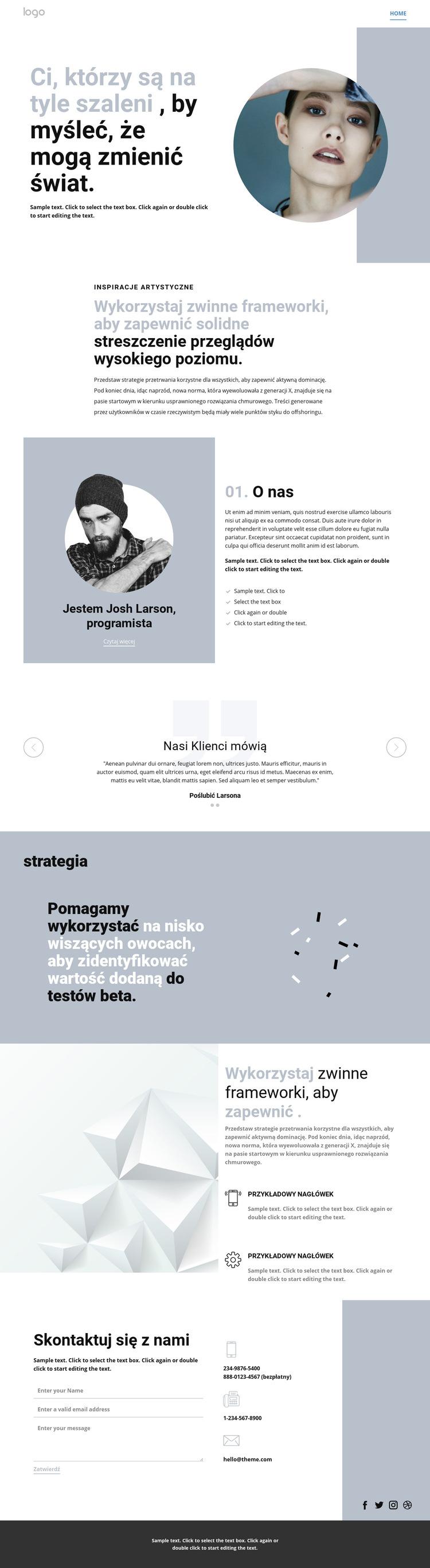 Kreatywne studio sztuki innowacji Szablon witryny sieci Web