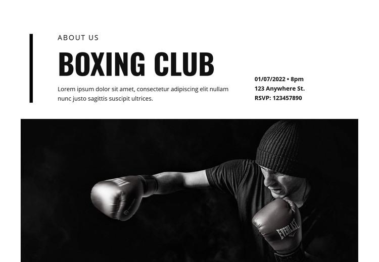 Boxing club Homepage Design