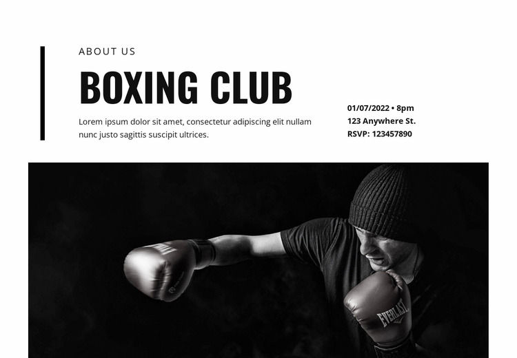 Boxing club WordPress Website Builder