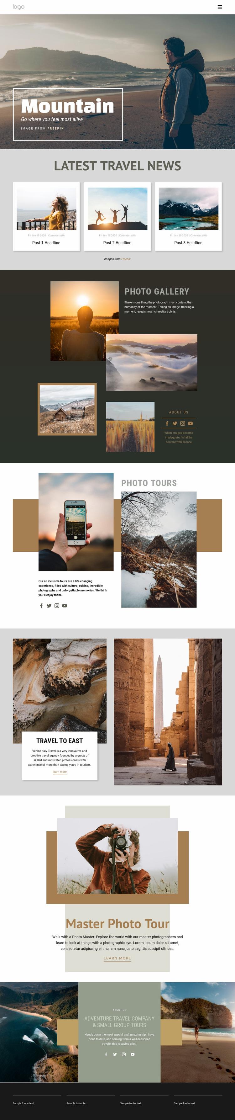 Mountain advanture travel Web Page Designer