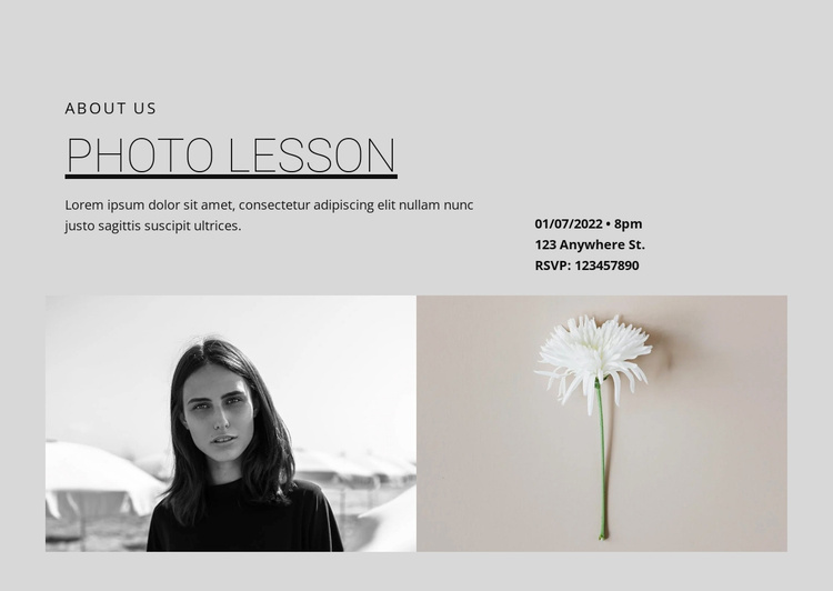 Photo lessons Website Template