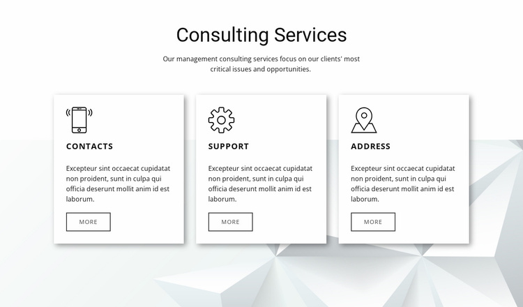 Our consulting features Landing Page